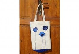 "Torba patchwork 3 ptaszki-grubaski. Tote bag ""three little birds""."