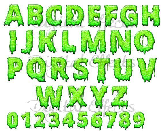 HALLOWEEN Green Slime Alphabet, Stylized Green Slime ...