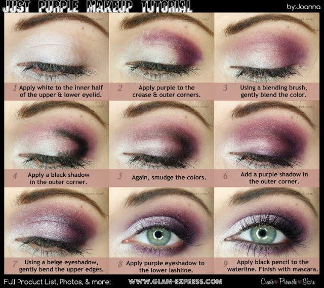 ...Bo w oczach tkwi siła duszy...: Po prostu fiolet - Makijaż krok po kroku