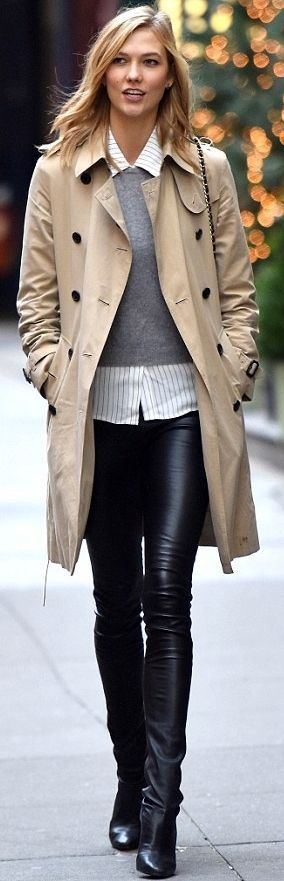 Model street style | Grey sweater over striped blouse, leather pants and trench coat
