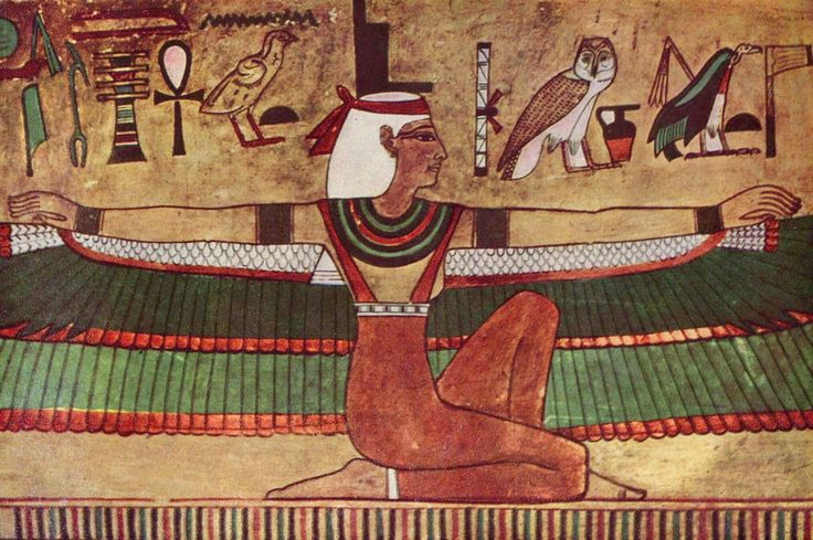 three bird hieroglyphs : the vulture of Mut (with flail), the owl and the quail-chick  http://upload.wikimedia.org/wikipedia/commons/5/55/%C3%84gyptischer_Maler_um_1360_v._Chr._001.jpg