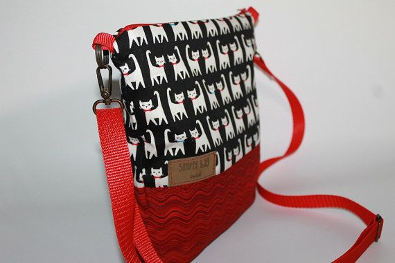 Tote bag Canvas  medium cross body bag  Cats on the  bag red adjustable strap