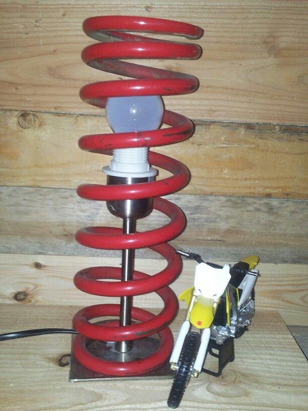 Lamp voor de MX  kamer. Oude lampenvoet met een oude achterveer van de crossmotor van papa. Mx boys room...lamp