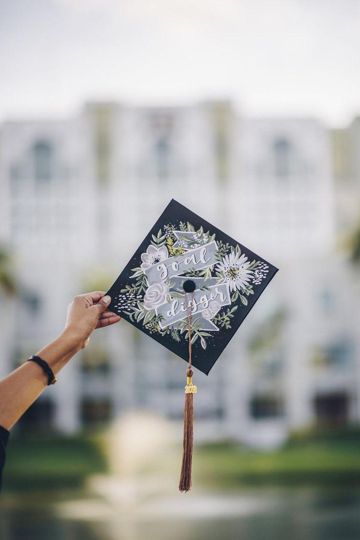 Hand Painted Handlettered Target Digger Graduation Cap Design