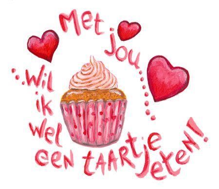 Cupcake voor Valentijnsdag   illustratie Hilde Reurink   www.schildertuin.nl