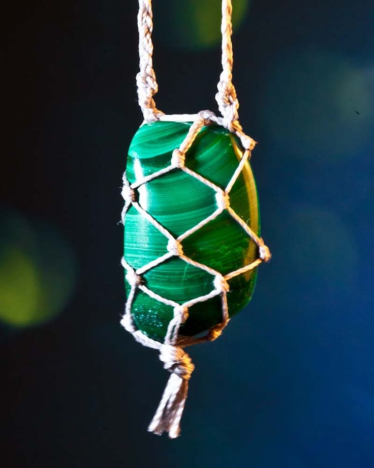 Gorgeous Rich Green Malachite Amulet With Faerie Lacing, Crystal Amulets, Crystal Gift Ideas, Vegan Gift Ideas, Natural Gift Ideas, Macrame Crystals, Crystal Necklace, Jewelry for Faeries, Whimsical Bridal Jewelry, Natural Bride #DesignTheLight.com #Lyn Rose