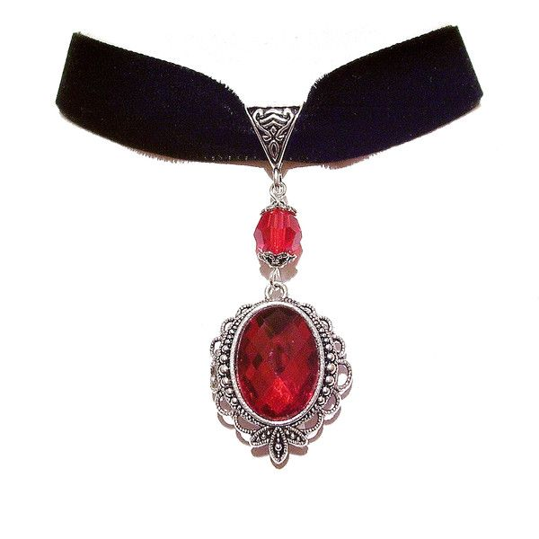 Calypso black velvet gothic choker w red crystal liked on for Red black and green jewelry