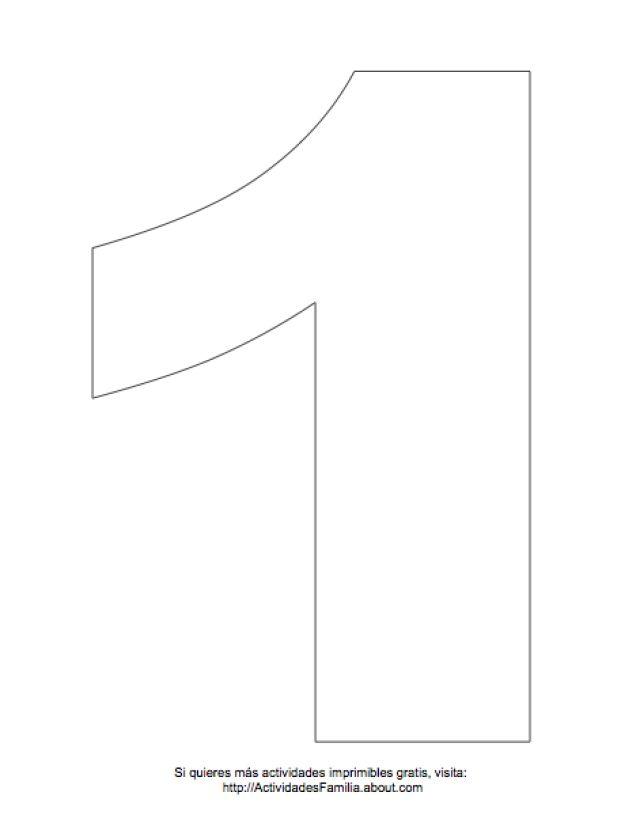 Dibujos de números para colorear: Número 1 para colorear