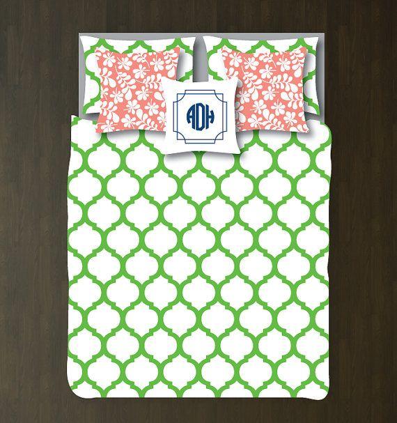 Custom Preppy Quatrefoil Bedding Set-Duvet Cover-Shams-Light Green-White-Twin, Full/Queen, King-Bedding-Bedroom-Bed-Kids Room-Girl-Dorm Room