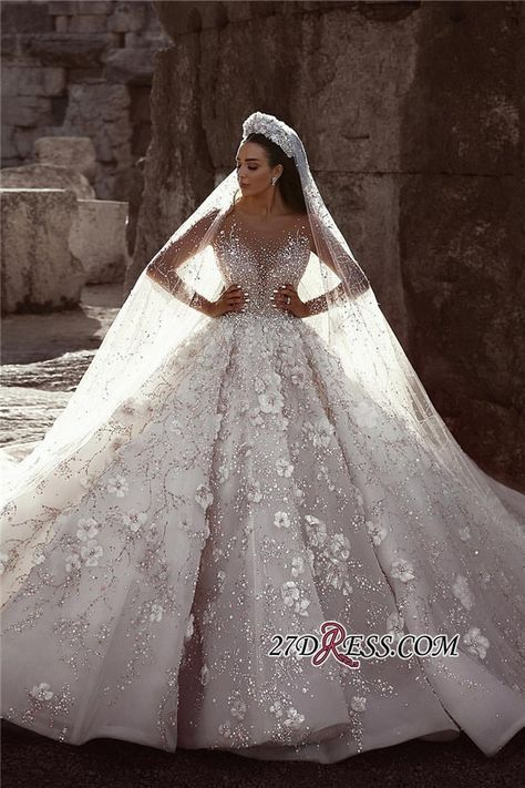 Luxurious Long Sleeve 2019 Wedding Dresses  Ball Gown Flowers Crystal Bridal Gowns_High Quality