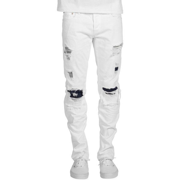 DOPE The Highland Denim Jeans in White ($88) ❤ liked on Polyvore featuring men's fashion, men's clothing, men's jeans, white, mens destroyed jeans, mens white jeans, mens distressed jeans, mens ripped jeans and mens white distressed jeans