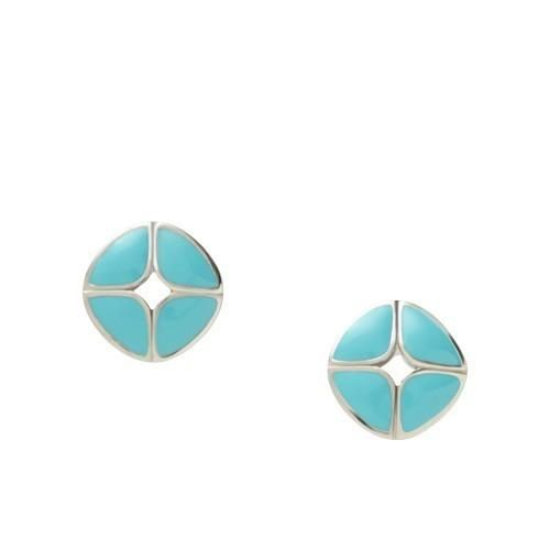 Bold aqua and our signature pattern add colorful charm to this classic steel stud. null More Details