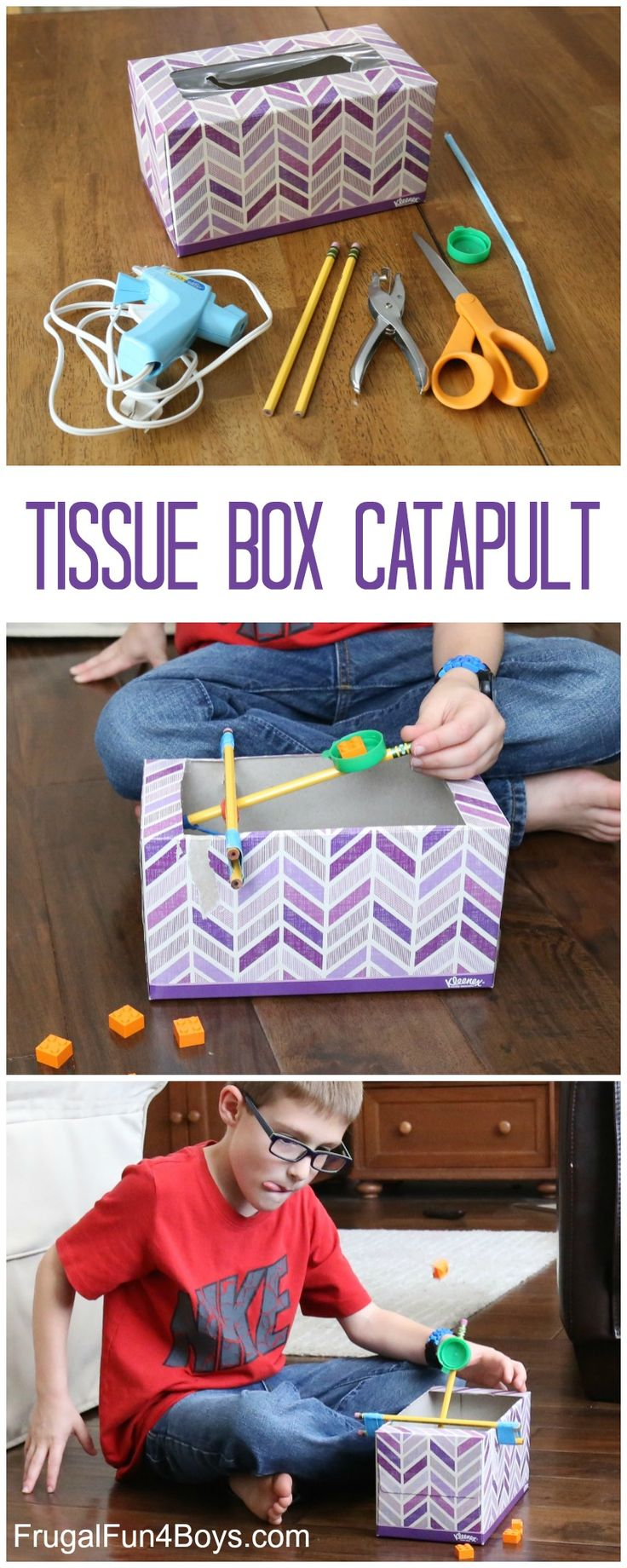 How to Build a Tissue Box Catapult - Fun STEM project! Make it an experiment by modifying the design or by testing different materials to see how far they shoot.