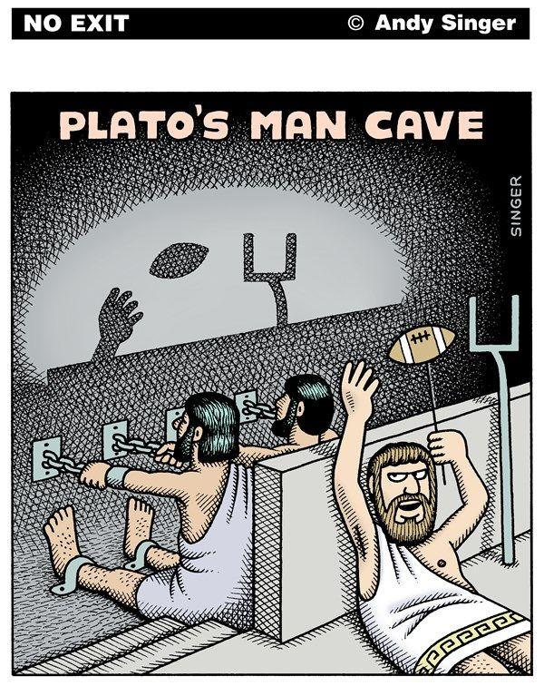 Le mythe de la caverne, Platon / Andy Singer - Politicalcartoons.com - Plato's Man Cave color version - English - Plato,plato,Aristotle,aristotle,socrates,Socrates,ancient,Greek,greek,Greece,philosophy,philosophies,philosopher,philosophers,myth,myths,cave,caves,slaves,shadow,shadows,sport,sports,football,television,man,men,mancave,mancaves,guy,guys,TV,TVs,games