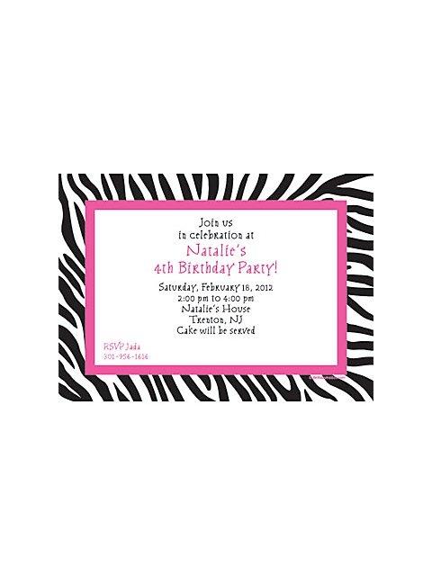 Zebra Party Personalized Invitation