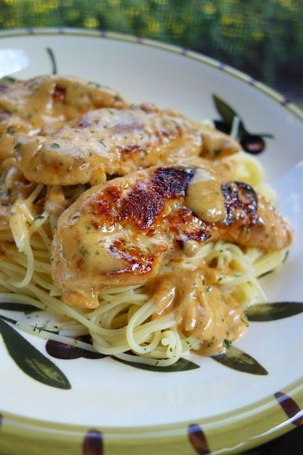 Chicken Lazone ~ This dish is SO delicious.  The best part of this dish is that it is incredibly simple to make.  It requires not marinating or prep. Just sprinkle the seasoning on the chicken, cook and add cream. It takes about 15 minutes total.  You can't beat that! I like to serve this over angel hair pasta, but it would also be good with mashed potatoes