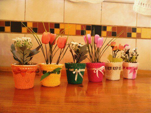 macetas tejidas a crochet con flores | decoracion para el hogar ...