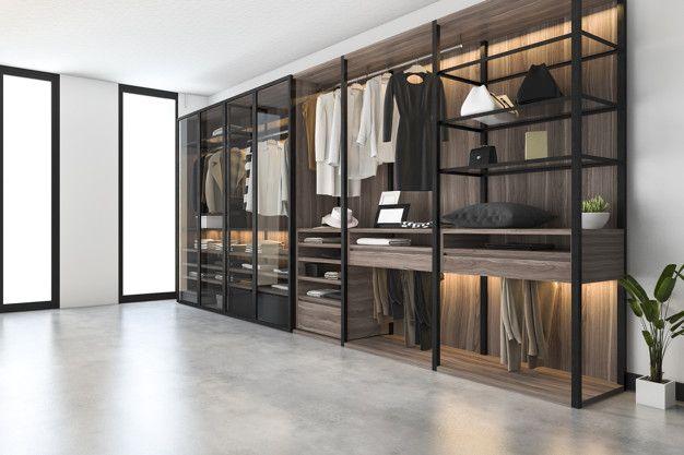 3d Rendering Minimal Scandinavian Walk In Closet With Wood Wardrobe In 2020 Wood Wardrobe Wardrobe Door Designs Bedroom Closet Design