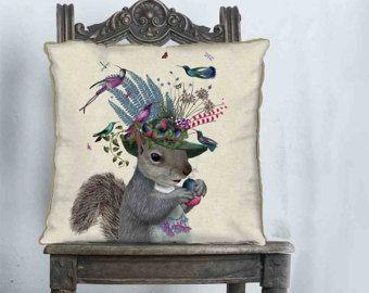 Almohada cojín de ardilla de cubierta - Birdkeeper - Woodland almohada almohada woodland país púrpura rosado decoración para el hogar Animal amortiguador de ardilla