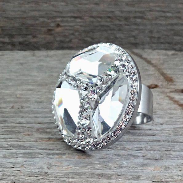 30mm Swarovski Crystal Steel adjustable ring - Surgical Steel Jewelry - sparkle crystal by SteelJewelryShop on Etsy