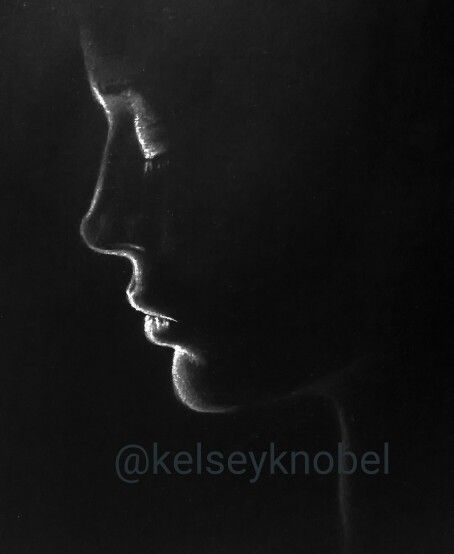 White charcoal on black paper. Drawing by @kelseyknobel