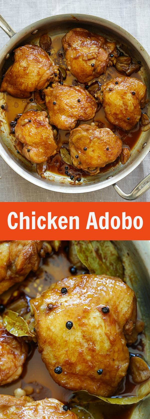 Chicken Adobo – crazy delicious Filipino Chicken Adobo recipe made in one pot. Chicken Abodo is a perfect dinner for the entire family | rasamalaysia.com