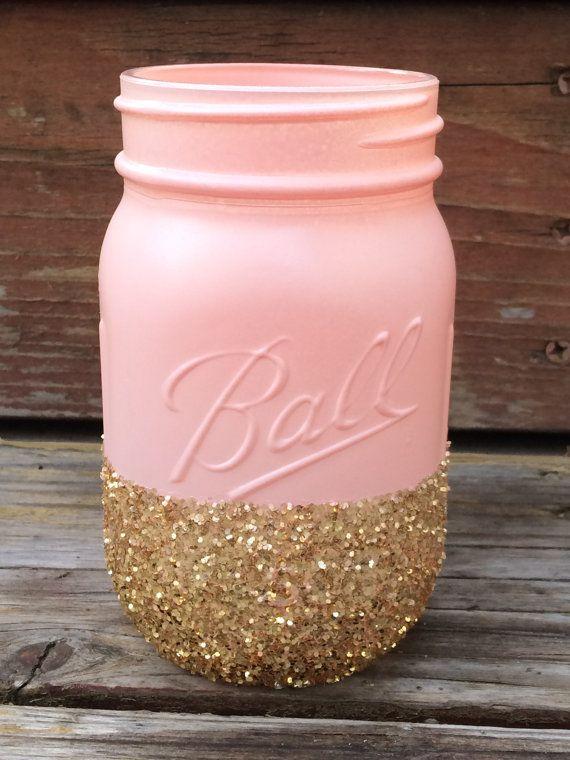Light Pink Glitter Mason Jar  Perfect for by PrettySimplyJars