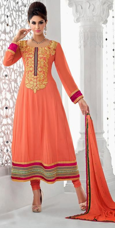 Peach Faux Georgette Thread Work Anarkali Salwar Kameez 2620355