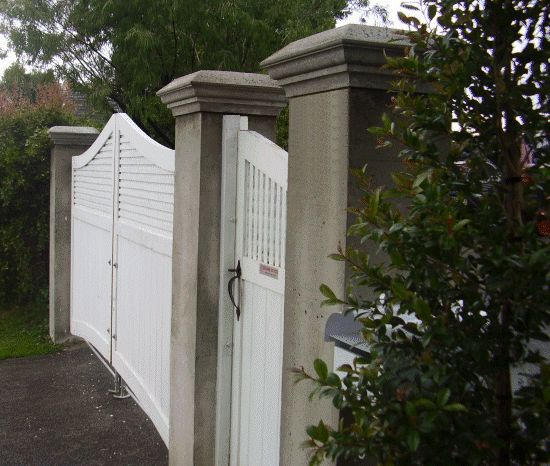 How To Build Wooden Driveway Gateake Concrete Gate Posts With Decorative Caps Arbors And Gates In 2018 Fence