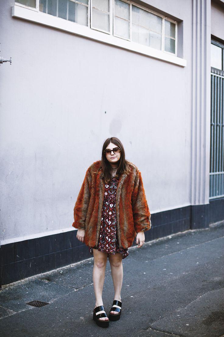 Faux fur Raya Rossi red warm 90s retro style cool choker Miu Miu sunglasses print platforms