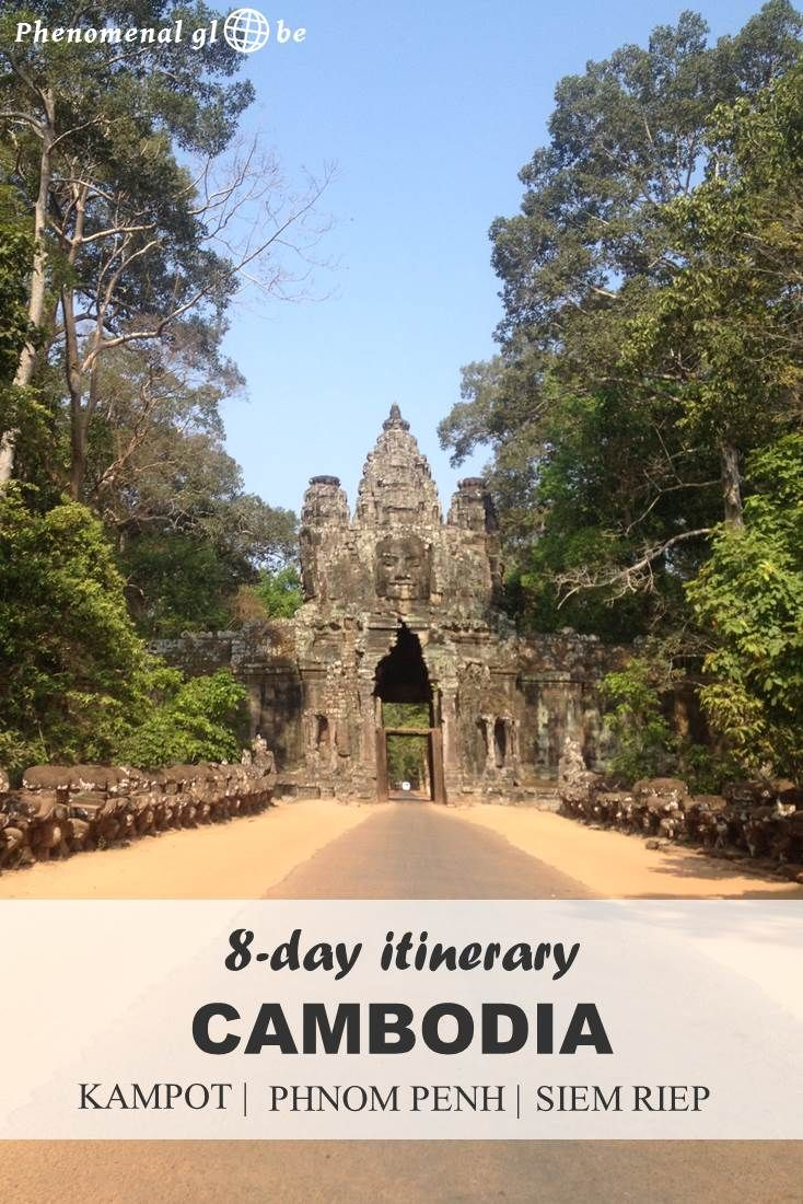 An 8 day itinerary for Kampot, Phnom Penh and Siem Riep in Cambodia. Information how to get from A to B and downloadable map with highlights and route. #southeastasia #cambodia