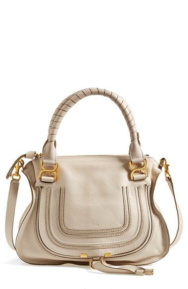 Free shipping and returns on Chloé 'Medium Marcie' Leather Satchel at Nordstrom.com. A textured, curvy flap—branded by subtle embossing—secures the front pocket of a sophisticated satchel crafted from lightly pebbled calfskin and topped with wrapped handles and an optional strap.