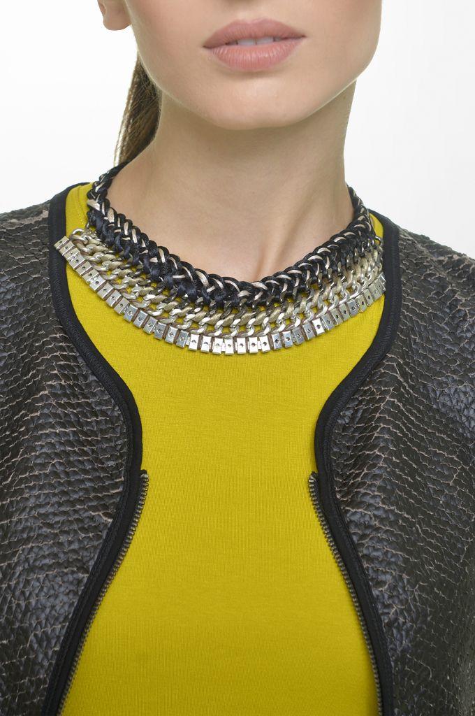 Sarah Lawrence - fake leatheret crew neck zip blazer, jersey long sleeve blouse, necklace.