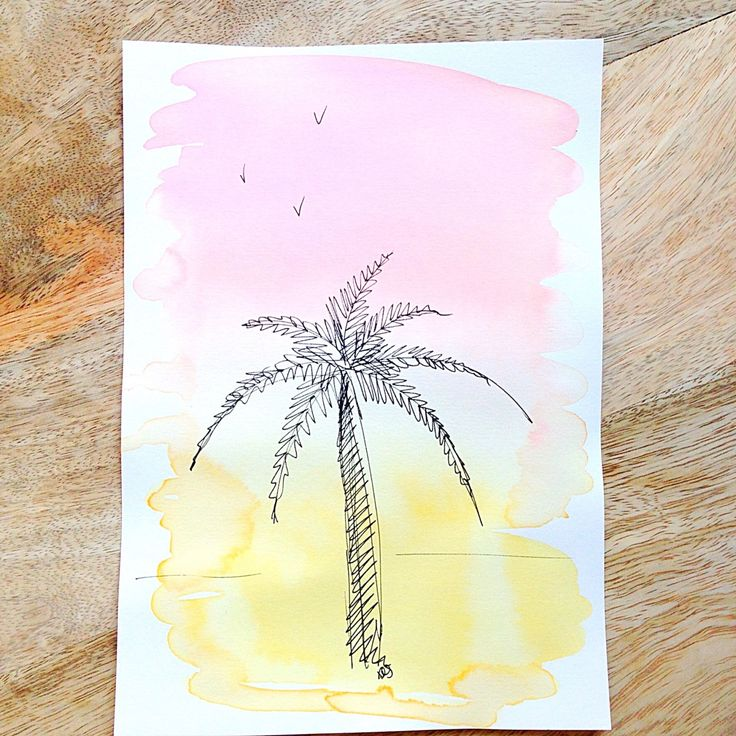 Tropical palmtree illustration - handlettering - orignal artwork - art door XantheCS op Etsy