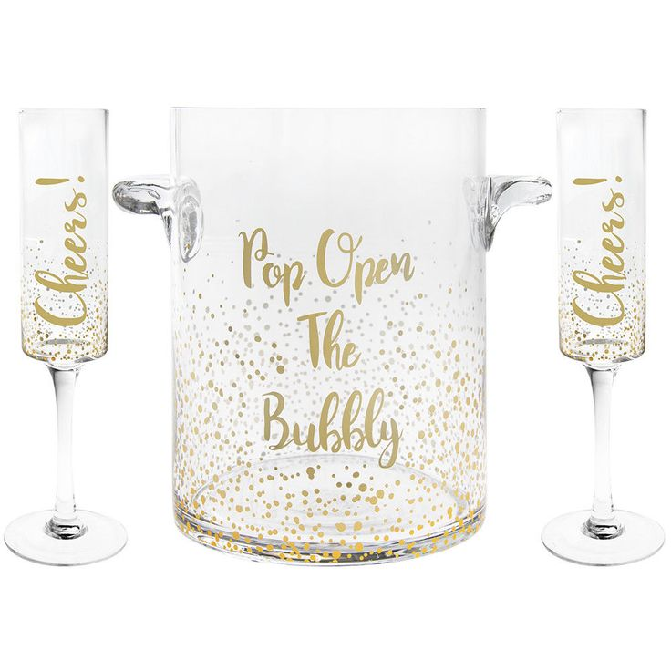 2 Champagne/Prosecco Flutes & Ice Bucket Gold Dots Design Cheers Open The Bubbly #champagne #prosecco #newyearseve #celebration #bubbles #fizz