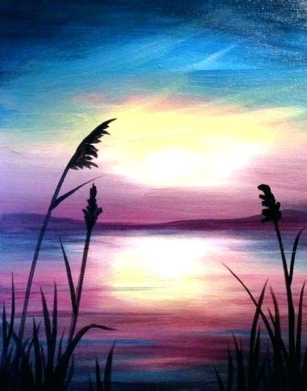 Landscape Silhouette Painting Easy Landscape Art Beautiful