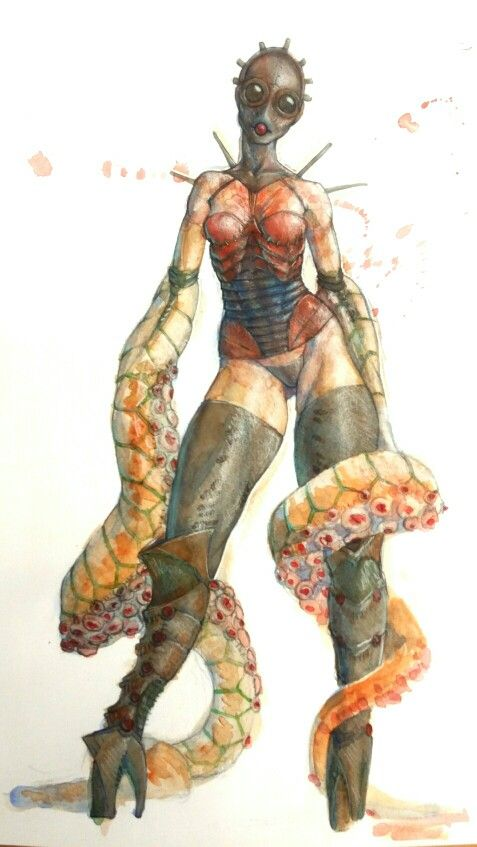 Tentacles in water colour.  Shanewarild