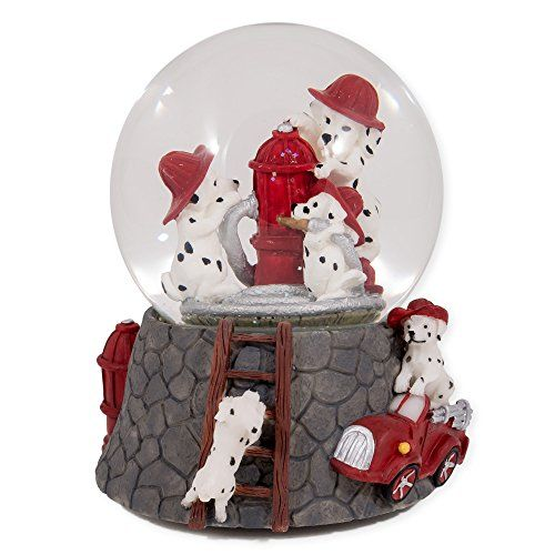 Dalmation Puppies with Red Fireman Hats Glass Musical Snow Globe Plays Song Smoke Gets In Your Eyes