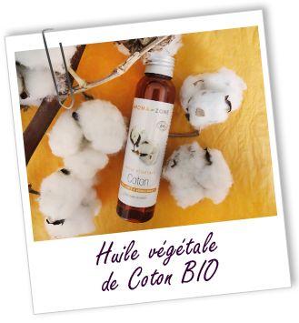 Huile végétale Coton:  Excellent agent restructurant, assouplissant et antioxydant pour les cheveux; excellent agent reconstructeur pour la peau