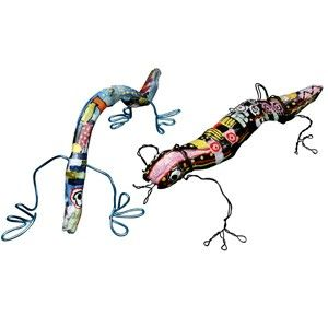 Making lizards out of branches and wire.