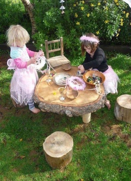 Tree stump ideas for kids play areas mud kitchen 41 Ideas