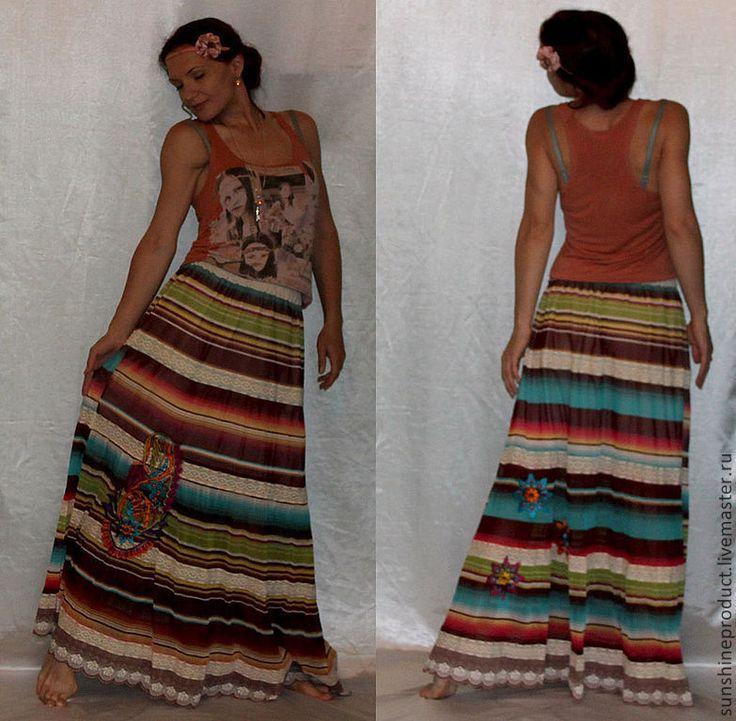 """Купить Юбка """"Перо павлина"""" - в полоску, юбка экстравагантная, юбка авторская, юбка нарядная"""