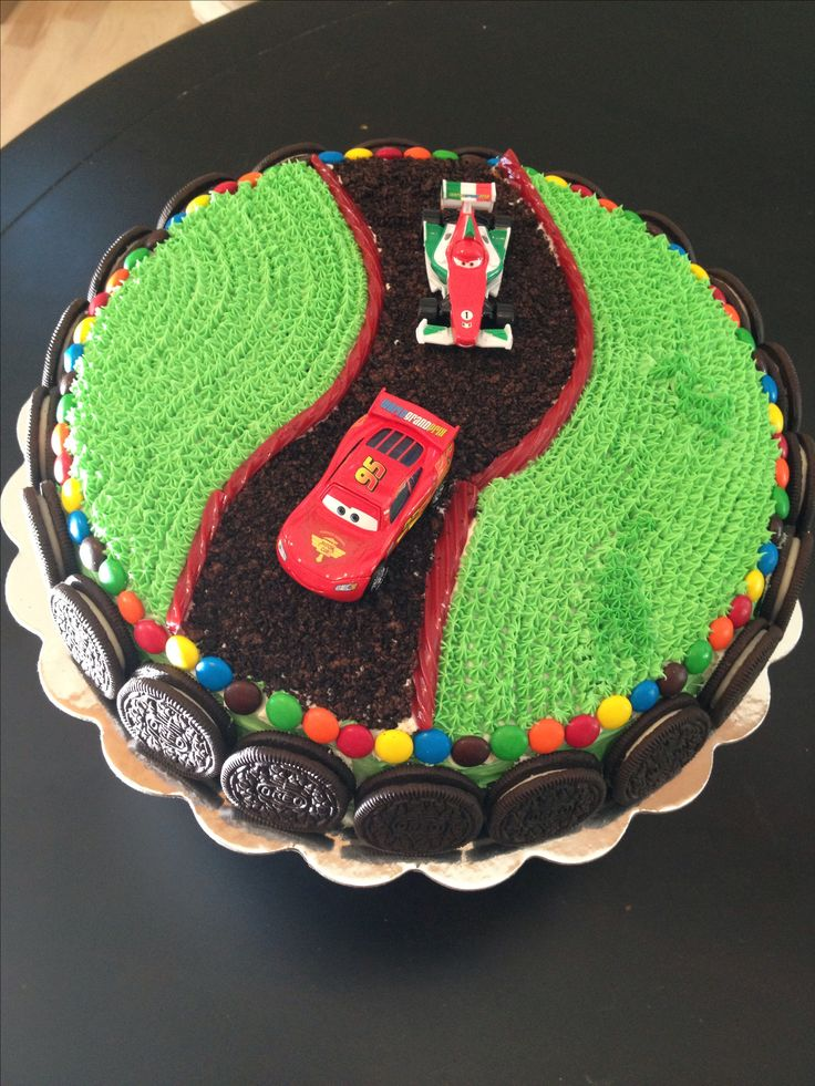 Cars Cake:  the road is chocolate stuffed Oreos.  Oreos and m&m's make a fun and easy border.
