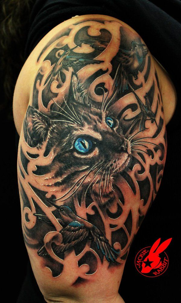 Blue Eye Cat and Bird Tattoo by Jackie Rabbit - 55 Examples of Cute Cat Tattoo  <3 <3