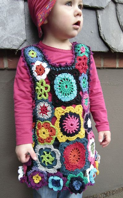 Crochet Granny Square Dress Patterns : H?keln Tunika Tr?gerrock...Granny Square & Flower ...
