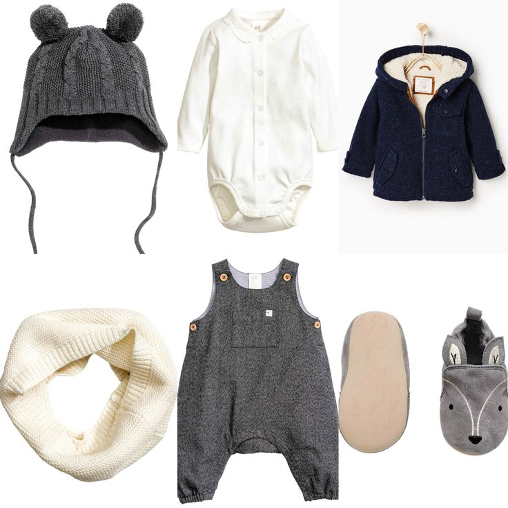 Baby boy autumn outfit idea Zara H&M 2016 fall collections. White body and grey romper with grey slippers. Grey hat and white roll-scarf all from H&M. Dark blue coat from Zara.