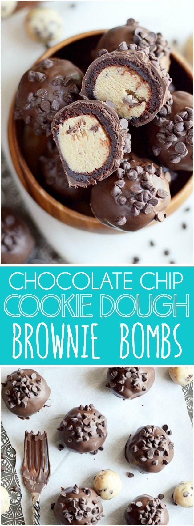 Cookie dough wrapped in a brownie and covered in chocolate. These Cookie Dough Brownie Bombs are even better than they look!