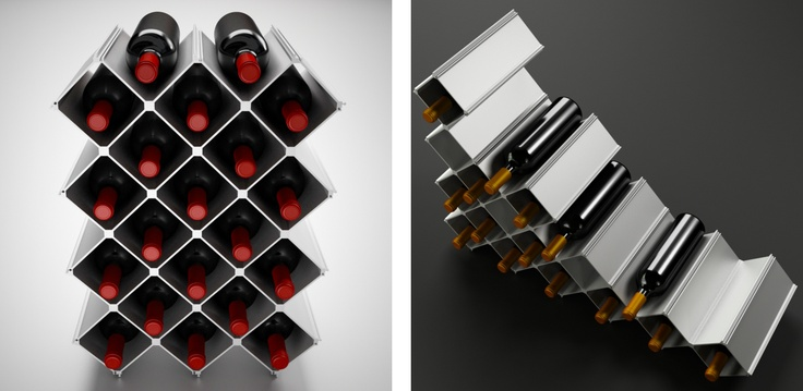 Modular wine rack Nucleus Extra Large.  48 aluminium elements and 12 floor protection strips for 20 bottles.