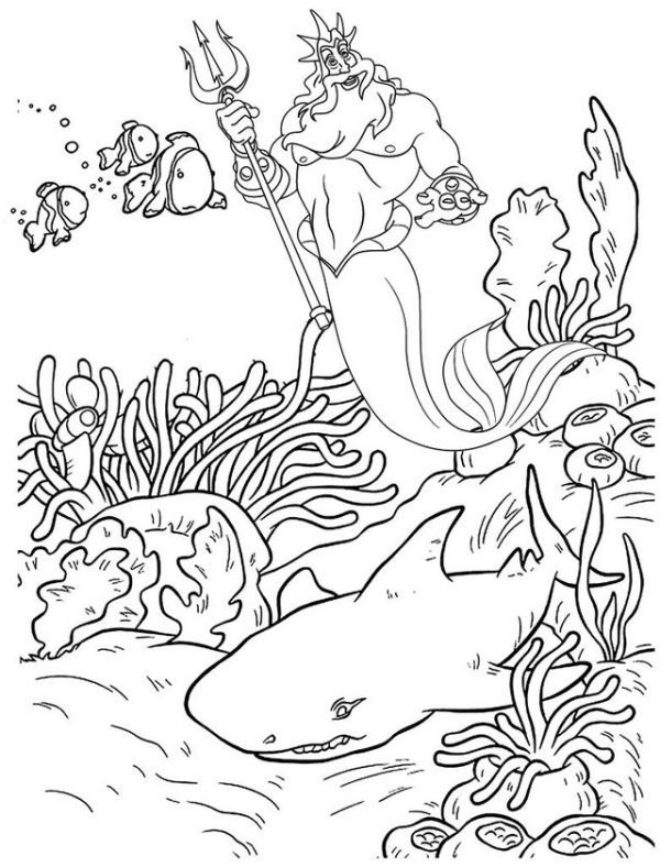 King Triton Coloring Pages For Your Kids Mermaid Coloring Pages