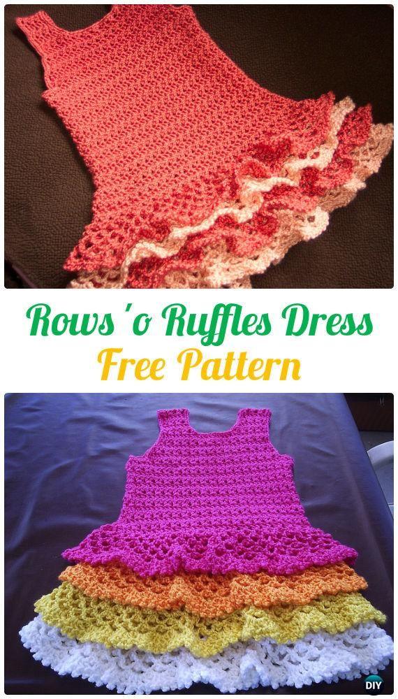 Crochet Rows 'o Ruffles Dress FreePattern - Crochet Girls Dress Free Patterns